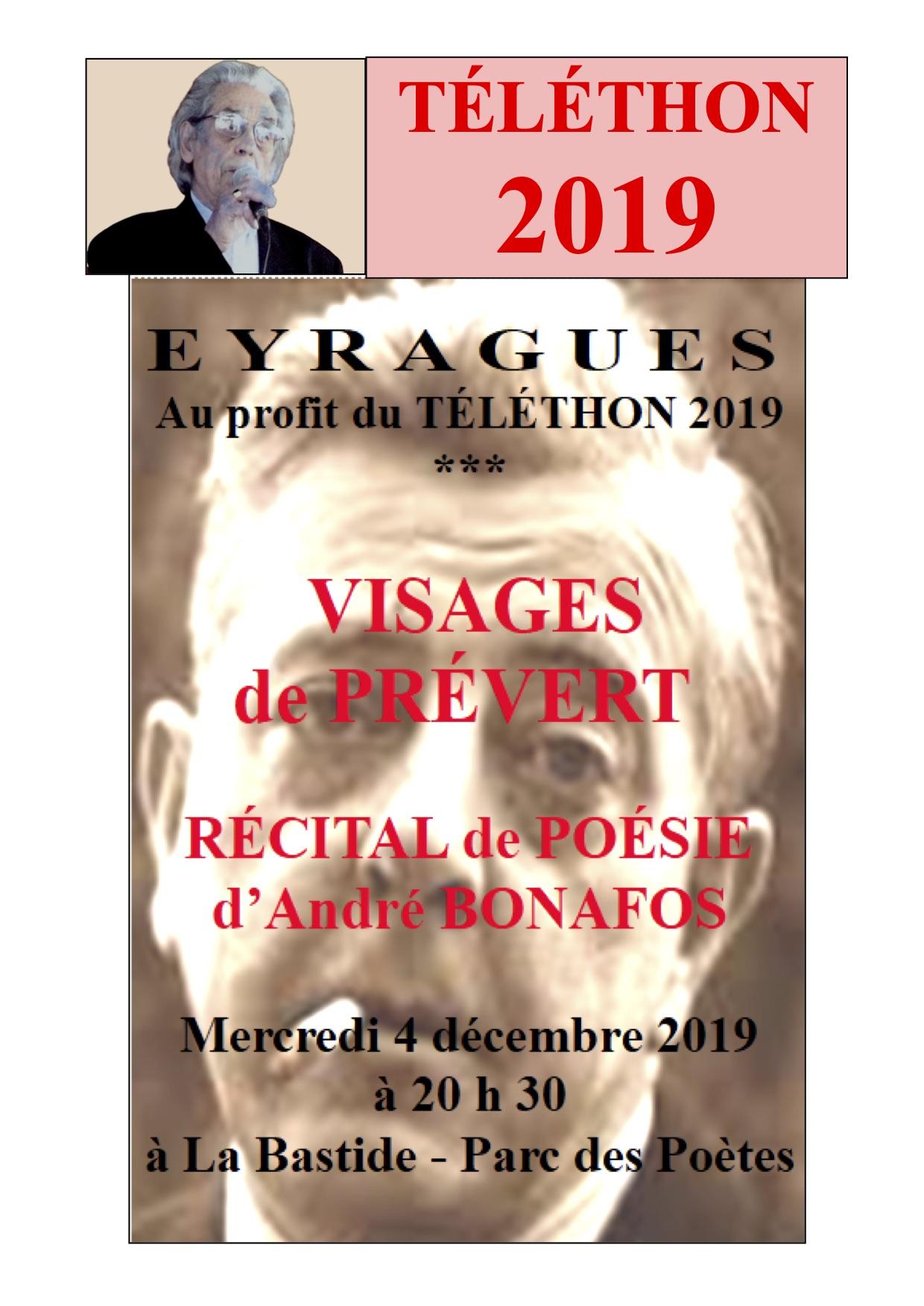 Récital de poésie d'André Bonafos au profit du Téléthon 2019 @ La Bastide - Parc des Poètes